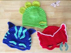 PATTERN ONLY  PJ Masks Inspired Crochet Mask  <br> Crochet Mask, Free Crochet, Knit Crochet, Knitting Patterns, Crochet Patterns, Crochet Costumes, Pj Mask, Crochet For Boys, Star Patterns