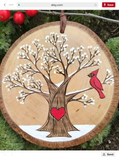 Snowy winter tree with red cardinal and heart Custom made wooden valentine Personalized wood burn Some Body, Thanksgiving, Kinds Of Salad, Winter Trees, Places To Eat, Painting On Wood, Rooster, Easy, Collection