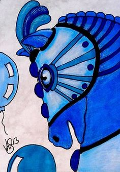 "Aceo Original ""CAROUSEL BLUE ROMAN HORSE"" pencil/ink  ON EBAY"