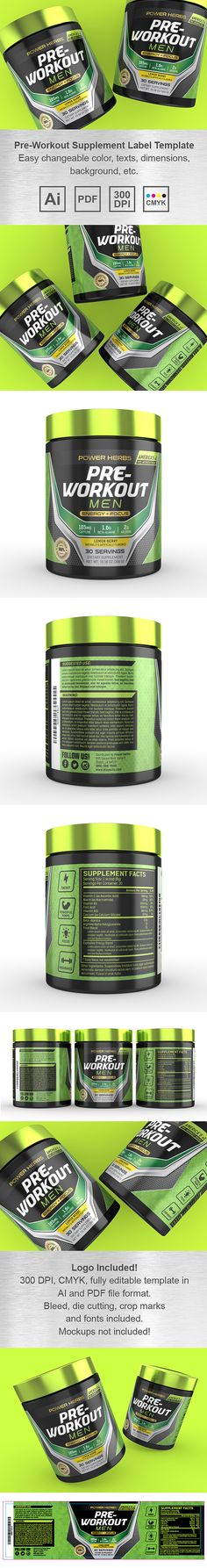 Pre Workout for Men Supplement Label Template http://www.dlayouts.com/template/1106/pre-workout-for-men-supplement-label-template