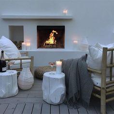 terrassenkamin weiße beistelltische