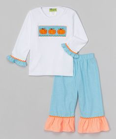 Another great find on #zulily! Aqua Pumpkin Smocked Tee & Pants - Infant, Toddler & Girls by Stellybelly #zulilyfinds