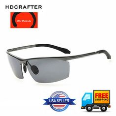 4456271d8cdc Details about HDCRAFTER HD8556 Aviator Sports Half Metal Cool Polarized  Sunglasses