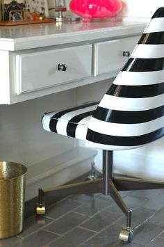 Upgrade an office chair with black and white spray paint—it adds a modern twist to your workspace.