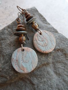 Faux Fir Totems ... Polymer Clay and Brass by juliethelen on Etsy