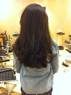 Brown hair, layers, soft curls, blowout, brunette