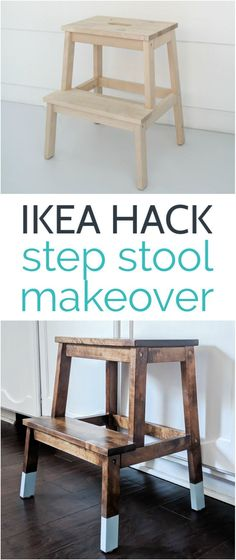 This pretty IKEA step stool makeover is stylish and easy. The two tone look adds just the right pop of color while still being neutral enough for any space. One of the easiest IKEA diys out there!