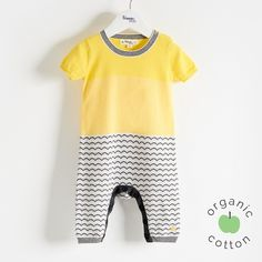 The Bonnie mob - The Life Aquatic. A monochrome waves jaquard mixed with a bold colourblock make this short sleeve with long leg length, lightweight 14 gauge knit playsuit, a must for spring. The Bonnie, Baby Yellow, Playsuit Romper, Unisex Baby, Baby Knitting, Organic Cotton, Rompers, Guppy, Romper