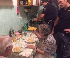 Italian police cook elderly couple pasta after neighbours hear crying 'Sometimes the loneliness melts into tears. Sometimes it's like a summer storm. It comes suddenly and overtakes one,' say the Rome police in a statement 08.08.16 Four policemen cooked pasta for an elderly couple after their loneliness and television news caused them such distress they were overheard crying.