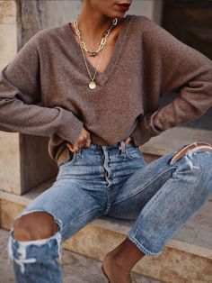 style Women casual - Women's Casual V-Neck Long Sleeve Solid Color Loose Sweater Outfits Casual, Fashion Outfits, Fashion Clothes, Fashion Fashion, Fashion Women, Fashion Ideas, Women's Casual, Fashion Tips, Cute Simple Outfits