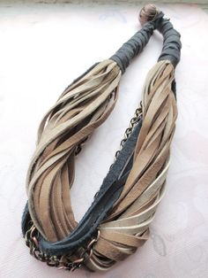 Leather Necklace, Brown Beige Black, Copper and Brass, String Necklace, Genuine Leather, Statement Necklace, Leather Jewelry on Etsy, $56.00