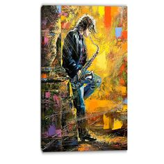 """DesignArt Saxophone Contemporary Painting Print on Wrapped Canvas Size: 32"""" H x 16"""" W"""