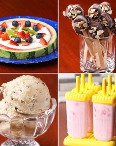 Peanut Butter Banana Ice CreamServings: 2-4INGREDIENTS3 bananas, peeled and frozen1 tablespoon natural peanut butter1½ tablespoons mini chocolate chipsPREPARATIONBlend frozen bananas in a food processor until smooth. Transfer to a freezer-safe container and swirl with peanut butter and mini chocolate chips. Re-freeze until solid. Enjoy!Watermelon PizzaServings 4-6INGREDIENTS1 watermelon2 cups whole milk plain yogurt½ cup blueberries1 kiwi, peeled and sliced5 strawberries, sliced1-2…