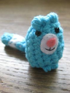 Blue cat Beeble Crochet cat with beads for eyes and felt muzzle 3-6cm