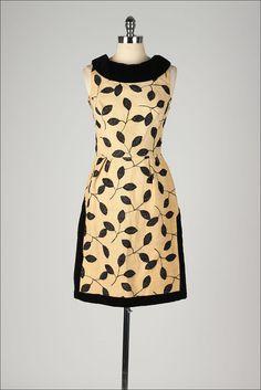 vintage 1960s dress . black leaf pattern . by millstreetvintage