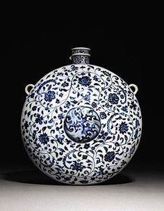 A VERY RARE EARLY MING BLUE AND WHITE FLASK, BIANHU - YONGLE (1403 - 1425) Black And White Plates, Blue And White China, Blue China, Porcelain Vase, Fine Porcelain, Celadon, Copper Red, Chinese Ceramics, Small Rings