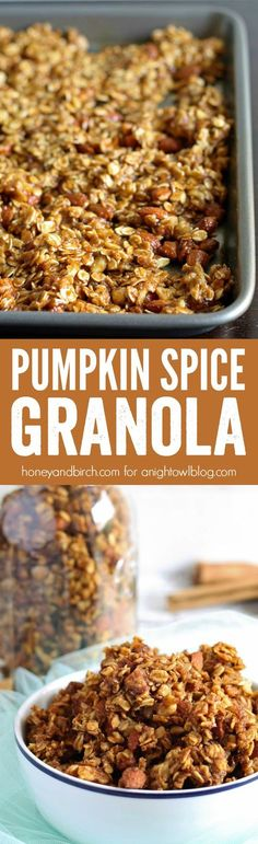 Pumpkin Spice Granola - a sweet combination of your favorite fall spices along with sweet maple syrup, brown sugar, walnuts and almonds. Granola can also be made in to some terrific nutrition bars. Pumpkin Recipes, Fall Recipes, Holiday Recipes, Breakfast Recipes, Snack Recipes, Cooking Recipes, Cooking Tips, Freezer Recipes, Freezer Cooking