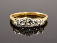 Vintage diamond engagement ring. Diamond five stone by LucyBedeman