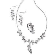 Enchanted Leaves 3-Piece Set - Silvertone 3 piece set in a romantic leaf design with rhinestone embellishment. Set includes necklace, earrings and a ring. Regularly $19.99, buy Avon Jewelry online at http://eseagren.avonrepresentative.com