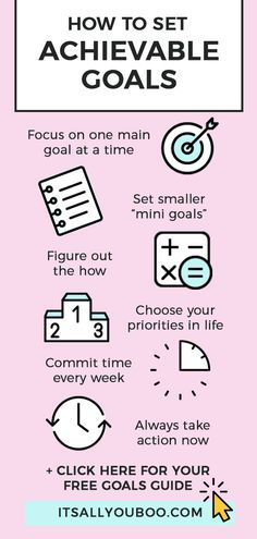 Want to set achievable goals? And actually achieve them? Click here for 6 simple secrets you need to set and achieve your goals. It's time to go from intentions to actions! Plus, get your FREE printable Achievable Goals Workbook. #AchieveYourGoals #ReachingGoals #AccomplishGoals #SmartGoals #Goals #GoalDigger #ItsAllYouBoo #GoalSetting #GoalGetters #GoalsForLife #GoalSetter #GoalCrushing #GoalCrusher #LifeGoals #SetGoals #Success #LifePlanning #GoalPlanner #GrowthMindset #SuccessMindset Set Your Goals, Achieve Your Goals, Success Mindset, Growth Mindset, Smart Goals Worksheet, Reaching Goals, Goals Planner, Life Plan, Setting Goals