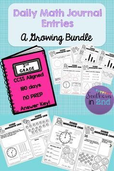 Get it now for 75% off!!!! This GROWING daily math journal bundle features daily, no prep journal entries! Complete with a teacher answer key for every day. Each entry is CCSS aligned. With this growing bundle your second graders will get daily practice with money, time, place value, geometry, fractions, and so much more!