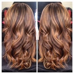 rose gold highlights on brown hair - love this