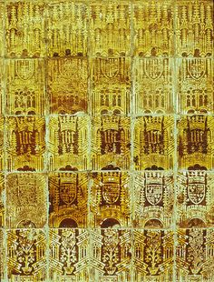 Encaustic/slipware tiles. Great Malvery Priory, Medieval wall tiles on screen wall of chancel.