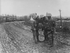 Actions of the St.Eloi Craters. Three Privates of the Northumberland Fusiliers, 3rd Division, after the attack on St.Eloi, 27th March 1916.