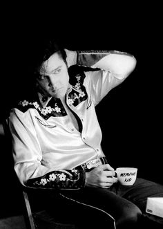 Elvis Presley takes a break while filming Loving You, 1957.