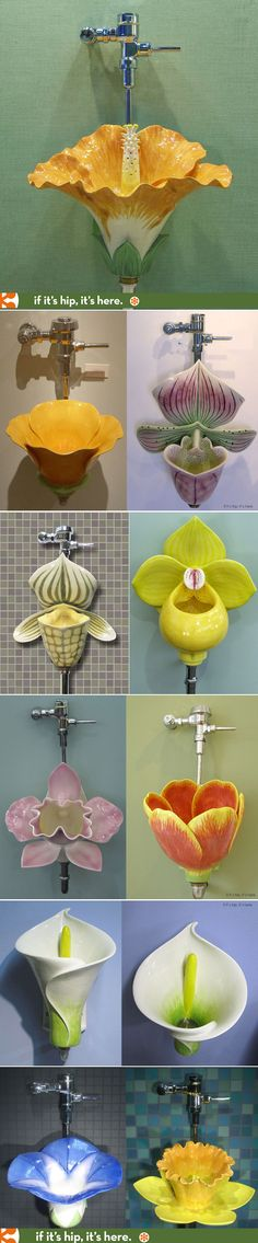 Amazing Flower Urinals. | http://www.ifitshipitshere.com/flower-urinals/