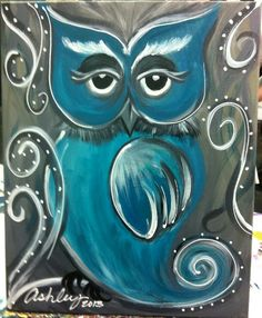 """Funky owl"" painted at Sips n Strokes! How fun!"