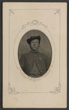 (c. 1862-1865) Soldier in Union uniform with 6th Corps badge with cross shape