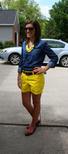 Wear coral shorts or yellow ankle pants instead!