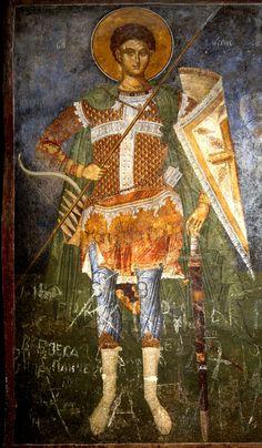 Saint Great Martyr Demetrios of Thessaloniki, commemorated on October fresco in the church of Saint Andrew - Matka, Skopje, Macedonia, 1388 - 1389 A. Byzantine Art, Art Icon, Orthodox Icons, Thessaloniki, Roman, Empire, Saints, Painting, Macedonia