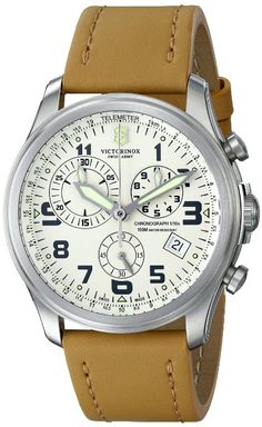 """Victorinox Men's 241579 """"Infantry"""" Stainless Steel Watch with Beige Leather Band"""