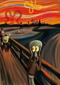 A Spongebob Squarepants parody of The Scream by Edvard Munch Cartoon Wallpaper, Disney Wallpaper, Wallpaper Spongebob, Retro Wallpaper, Edvard Munch, Le Cri Munch, Scream Parody, Scream Meme, Funny Art