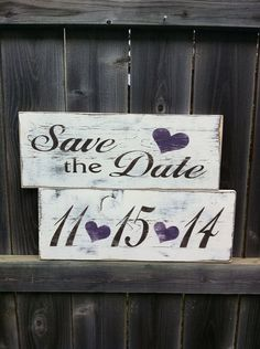 Two Custom Save the Date Signs with Hearts by ShoppeDeziLu on Etsy, $55.00