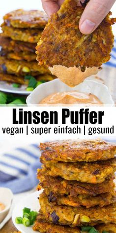 These potato fritters with red lentils are super easy to make and so delicious They re best with spicy sriracha mayonnaise The recipe for these fritters is of course 100 vegan Find more easy vegan dinner recipes at Tasty Vegetarian Recipes, Vegan Dinner Recipes, Vegan Dinners, Veggie Recipes, Vegan Vegetarian, Whole Food Recipes, Diet Recipes, Cooking Recipes, Burger Recipes