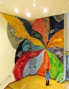 """""""The Gravity of Color,"""" By Lisa Hoke, installation made of plastic cups."""