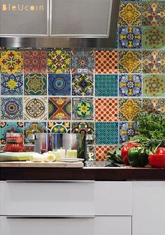 Bleucoin No 21 Mexican Talavera Tile/Wall/Stair/Floor Vinyl Stickers, Removable Kitchen Bathroom Peel & Stick Self Adhesive Decal Kitchen Tiles, New Kitchen, Kitchen Decor, Rental Kitchen, Kitchen Vinyl, Kitchen Cabinets, Kitchen Floors, Kitchen Interior, Tile Decals
