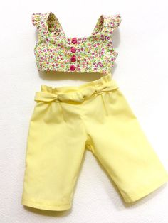 Yellow and Pink Floral Crop Top and Yellow Capris AG Doll