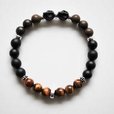 Men's Bracelet  Skull Bracelet with Sterling by winkandbauble, $52.00