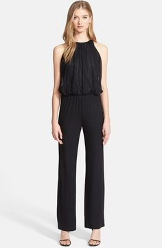 Free shipping and returns on Trina Turk 'Lillia 2' Mesh Bodice Jersey Jumpsuit at Nordstrom.com. Gathers of mesh add appealing texture to the blouson bodice of a slinky sleeveless jumpsuit cut from matte stretch jersey. An elasticized waist and deeply slit back style the trendy one-piece silhouette.