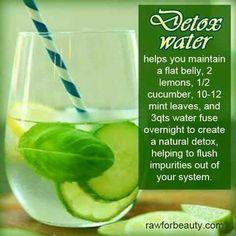 Delicious detox water~  #detox #bodycleanse #cucumberwater