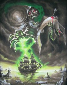 Rime of the ancient Mariner Heavy Metal Bands, Heavy Metal Art, Iron Maiden Cover, Iron Maiden Band, Eddie Iron Maiden, Iron Maiden Album Covers, Hard Rock, Rock Posters, Band Posters
