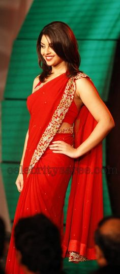 Richa Gangopadhyay in Red Georgette Hot Sari   Saree Blouse Patterns