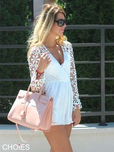 Neutral romper with bright colored bag