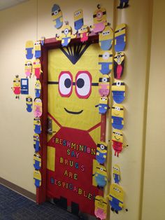 Red ribbon week door decoration. Despicable me. Drugs are