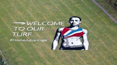 British Airways has painted a giant image of British heptathlete Jessica Ennis on playing fields in sight of the Heathrow flightpath, with the words 'welcome to our turf' #HomeAdvantage.