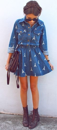 Super cute denim Eiffel Tower dress paired with combats